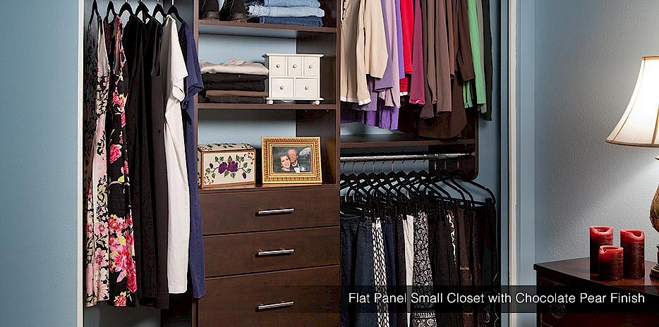 Small Closet With Secret Finish Flat Panel Chocolate Pear