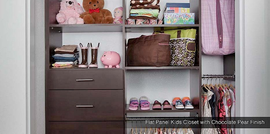 Flat Panel Kids Closet with Chocolate Pear Finish