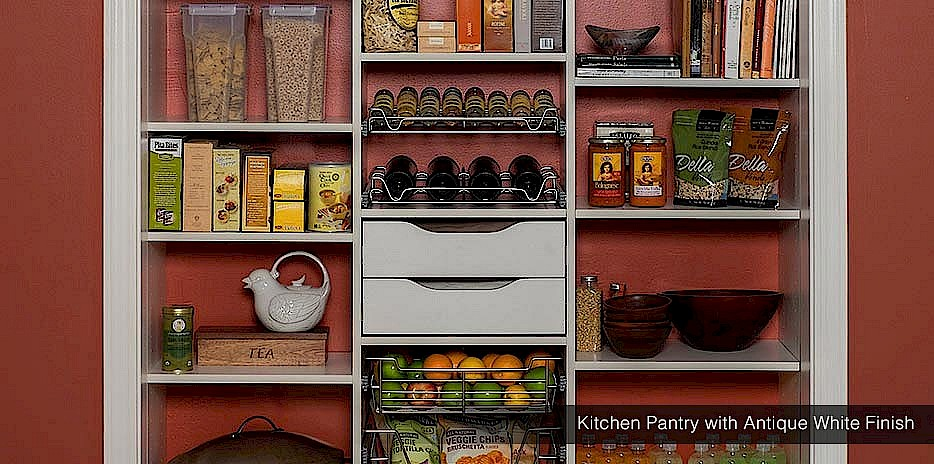 Kitchen Pantry with Antique White Finish