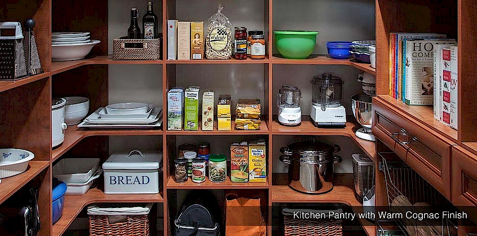 Kitchen Pantry with Warm Cognac Finish