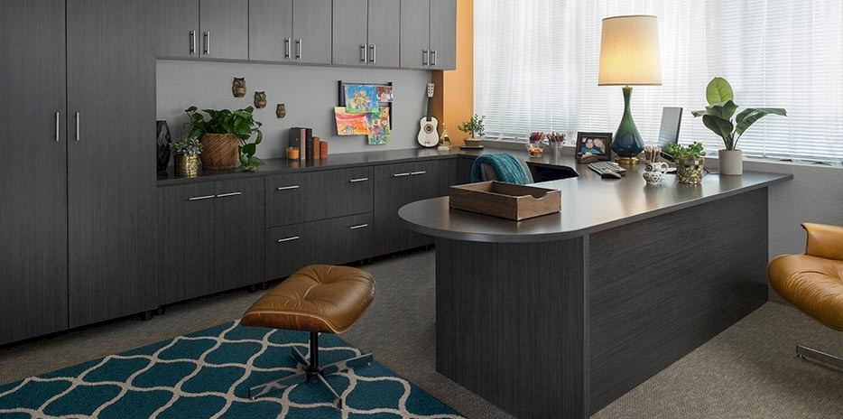 Custom Home Office Cabinets with Licorice Finish