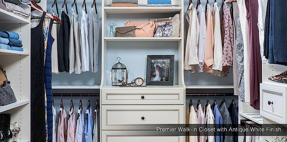 Premier Walk-in Closet with Antique White Finish