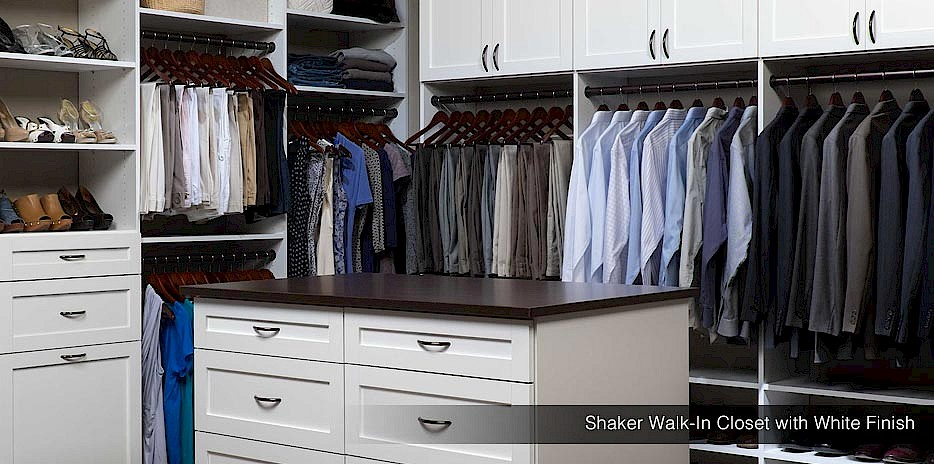 Shaker Walk in Closet with White Finish