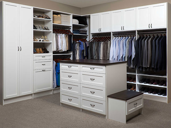 Custom Closet System with Island