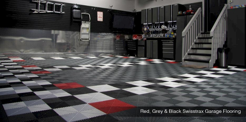Red, Grey and Black Garage Flooring